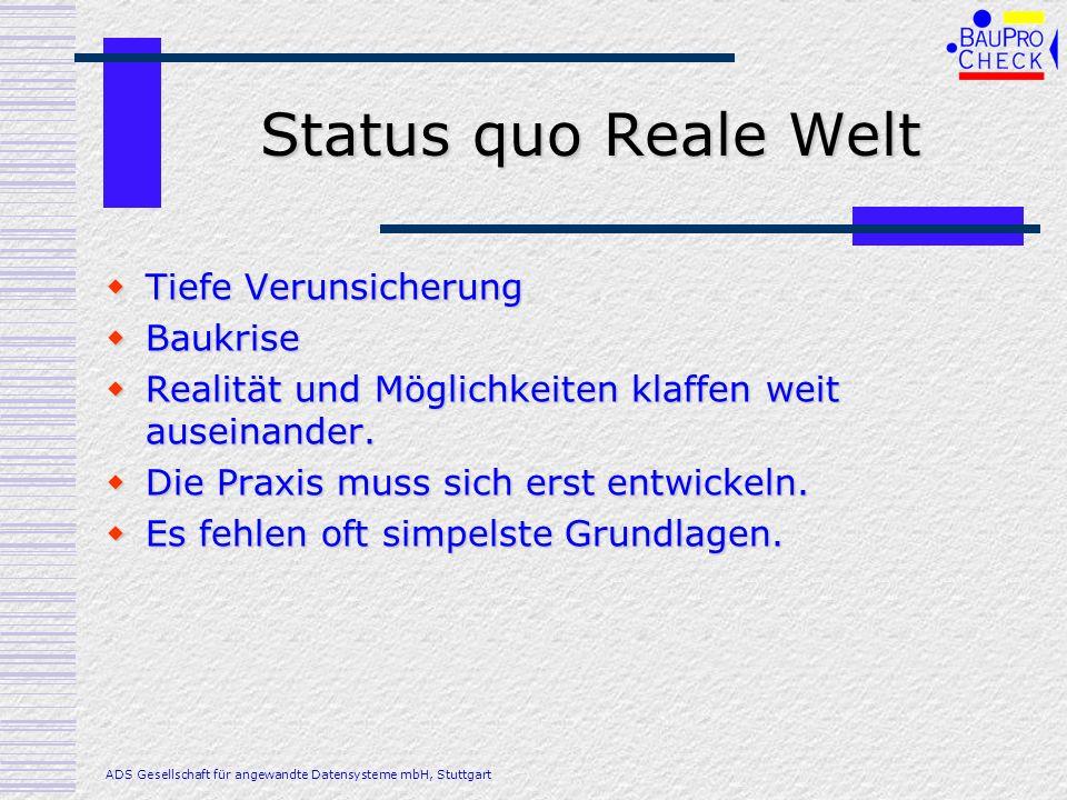 Status quo Reale Welt Tiefe Verunsicherung Baukrise