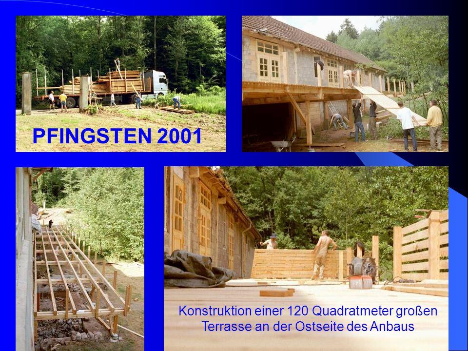 PFINGSTEN 2001 Konstruktion einer 120 Quadratmeter großen Terrasse an der Ostseite des Anbaus