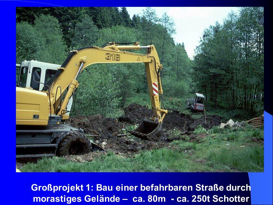 Großprojekt 1: Bau einer befahrbaren Straße durch morastiges Gelände – ca. 80m - ca. 250t Schotter
