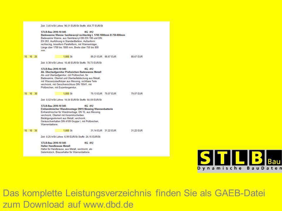 Das komplette Leistungsverzeichnis finden Sie als GAEB-Datei zum Download auf www.dbd.de
