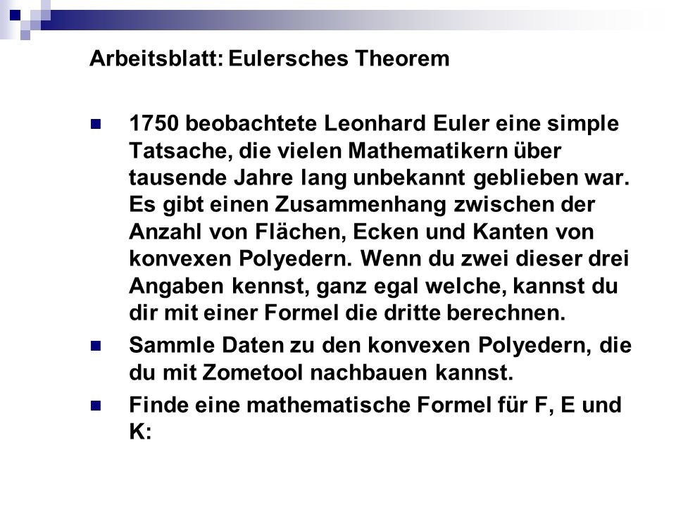 Arbeitsblatt: Eulersches Theorem