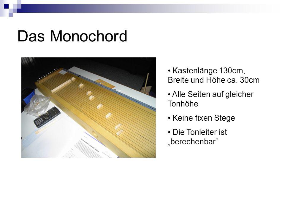 Das Monochord Kastenlänge 130cm, Breite und Höhe ca. 30cm