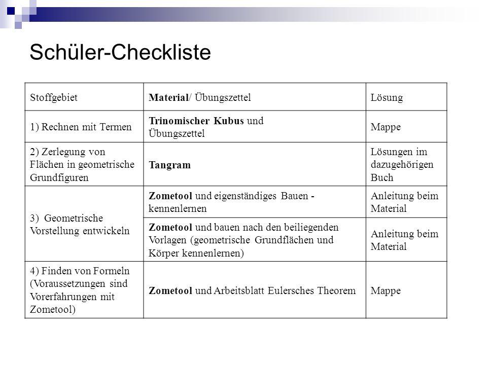 Schüler-Checkliste Stoffgebiet Material/ Übungszettel Lösung