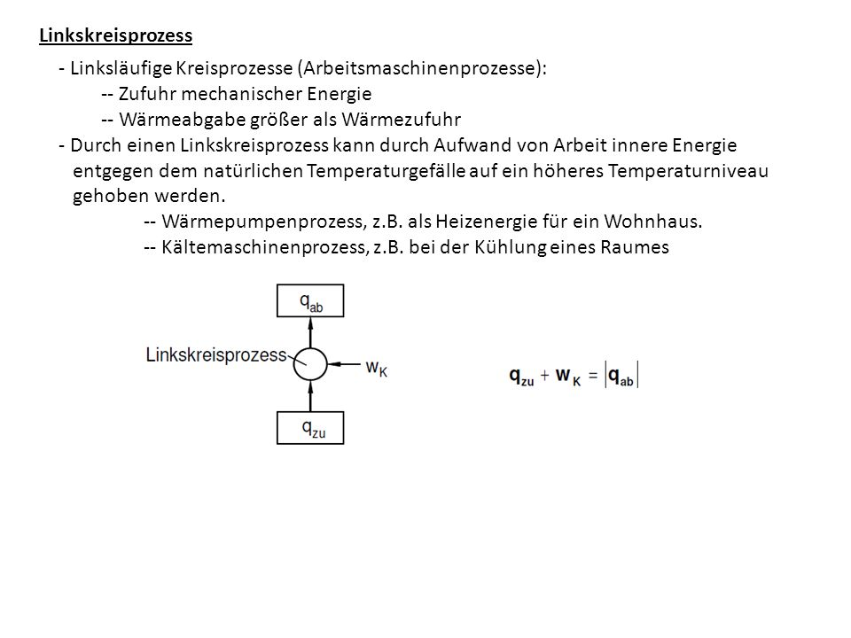 Linkskreisprozess - Linksläufige Kreisprozesse (Arbeitsmaschinenprozesse): -- Zufuhr mechanischer Energie.