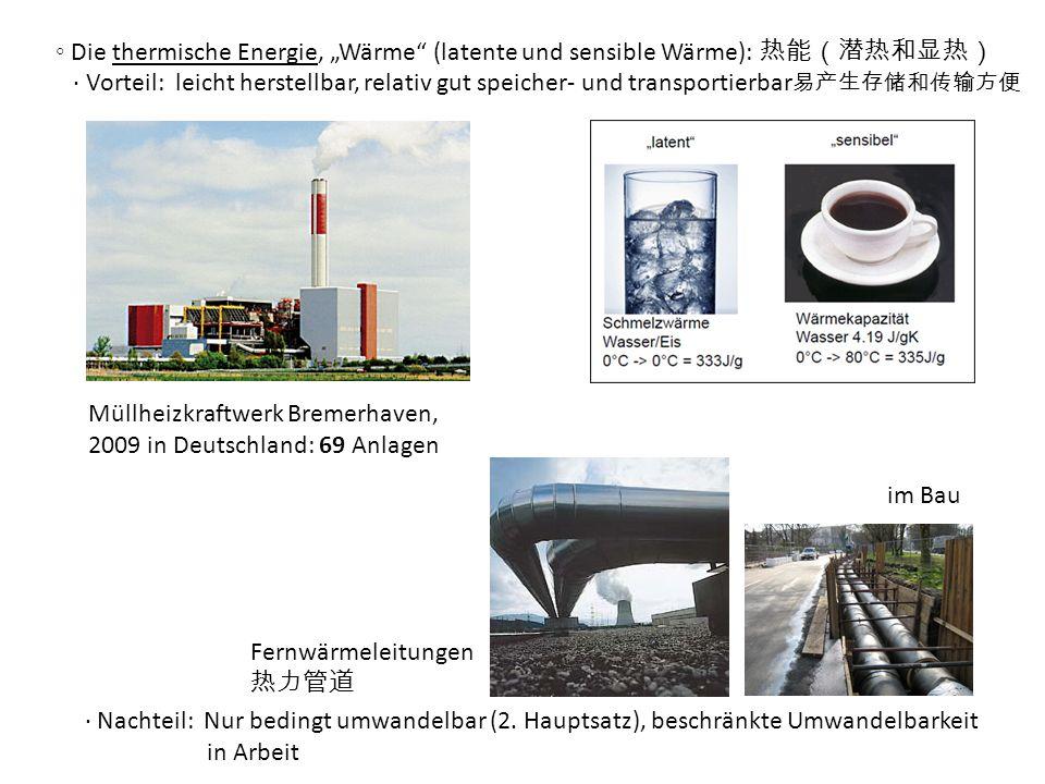 """◦ Die thermische Energie, """"Wärme (latente und sensible Wärme): 热能(潜热和显热)"""
