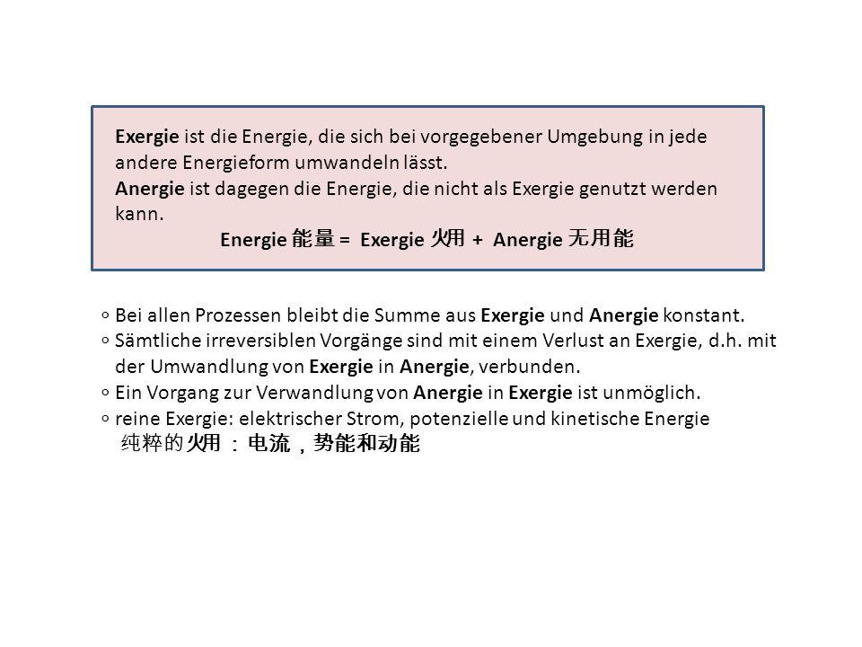 Energie 能量 = Exergie 火用 + Anergie 无用能