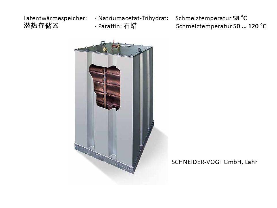Latentwärmespeicher: ⋅ Natriumacetat-Trihydrat: Schmelztemperatur 58 °C
