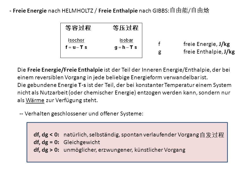 - Freie Energie nach HELMHOLTZ / Freie Enthalpie nach GIBBS:自由能/自由焓