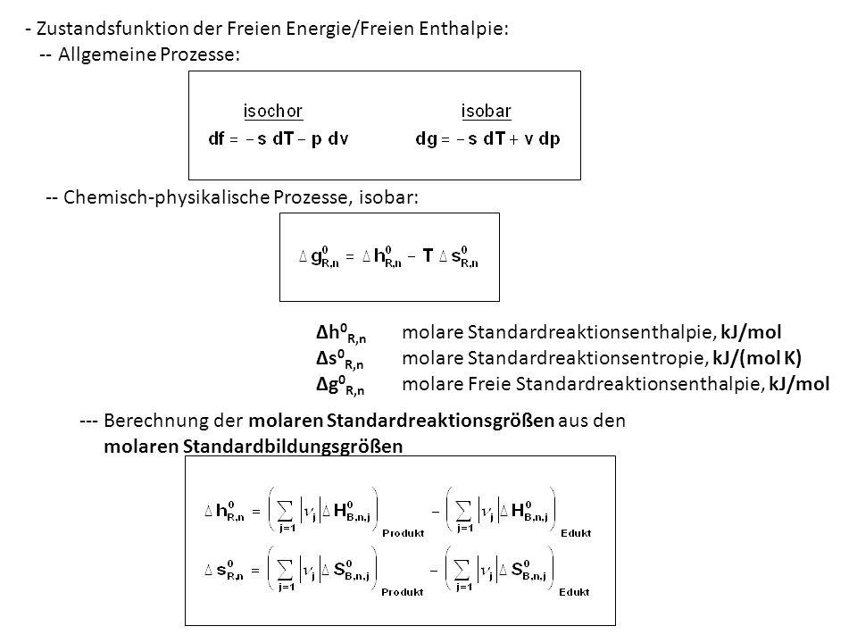 - Zustandsfunktion der Freien Energie/Freien Enthalpie: