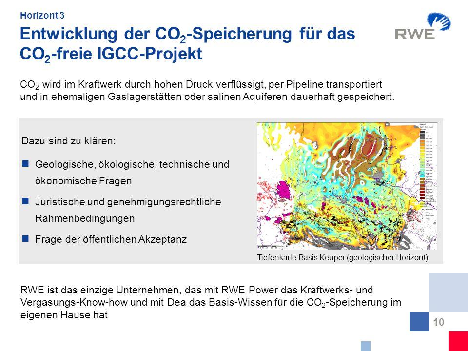 Entwicklung der CO2-Speicherung für das CO2-freie IGCC-Projekt