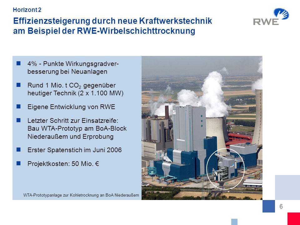Horizont 2 Effizienzsteigerung durch neue Kraftwerkstechnik am Beispiel der RWE-Wirbelschichttrocknung.