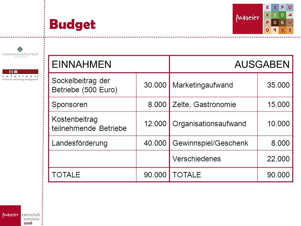 Budget EINNAHMEN AUSGABEN Sockelbeitrag der Betriebe (500 Euro) 30.000