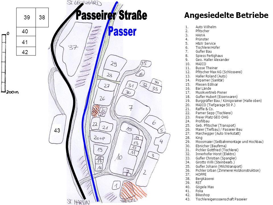 Passeirer Straße Passer Angesiedelte Betriebe 39 39 38 40 41 42 43