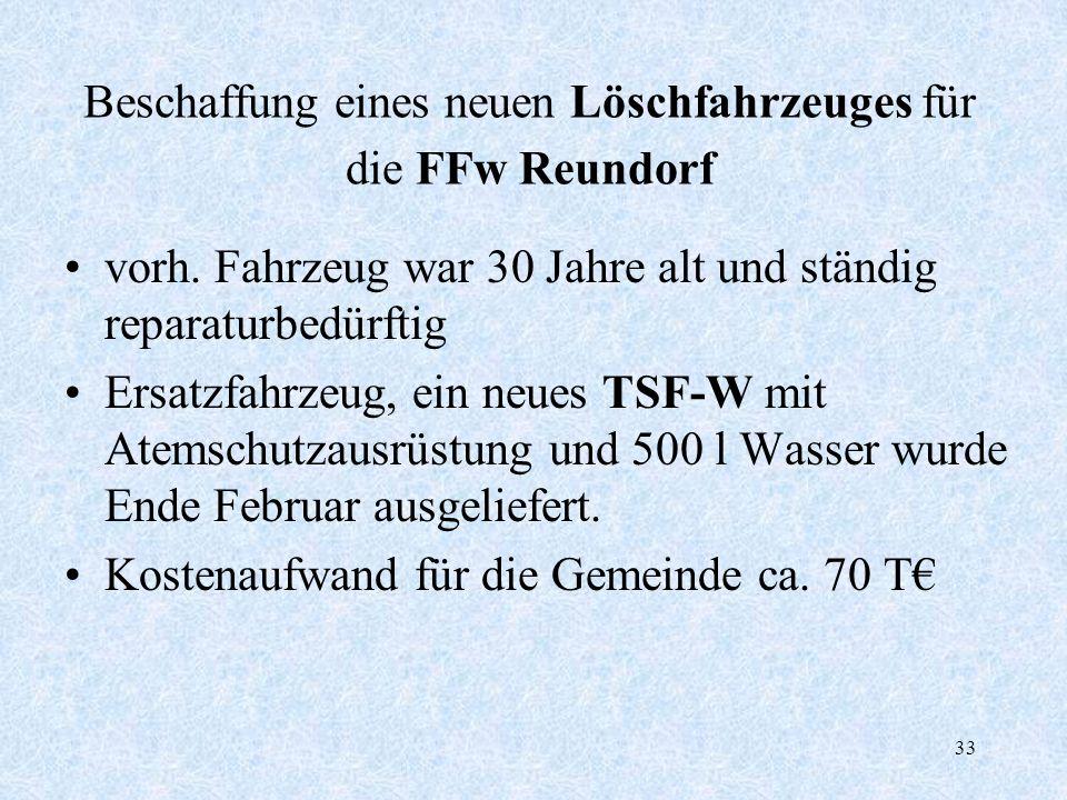 Beschaffung eines neuen Löschfahrzeuges für die FFw Reundorf