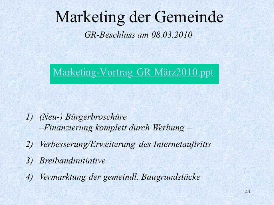 Marketing der Gemeinde