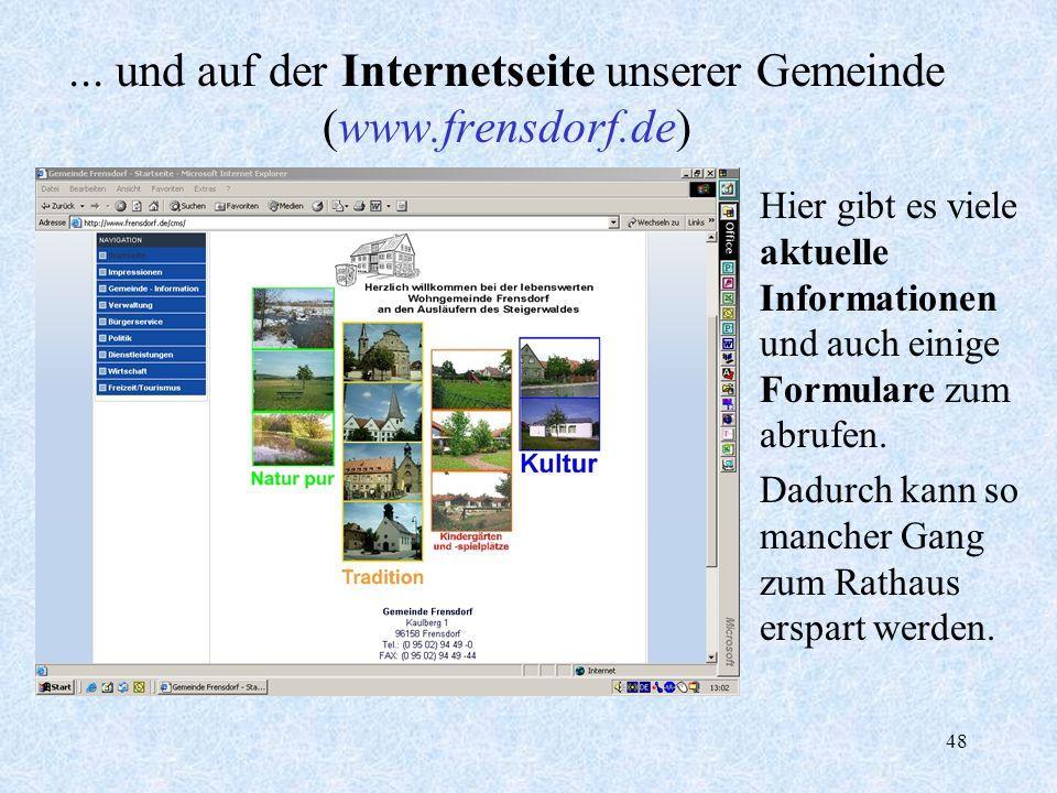... und auf der Internetseite unserer Gemeinde (www.frensdorf.de)