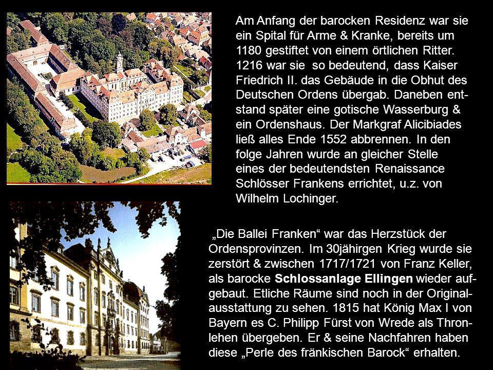 Am Anfang der barocken Residenz war sie ein Spital für Arme & Kranke, bereits um 1180 gestiftet von einem örtlichen Ritter. 1216 war sie so bedeutend, dass Kaiser Friedrich II. das Gebäude in die Obhut des Deutschen Ordens übergab. Daneben ent-stand später eine gotische Wasserburg & ein Ordenshaus. Der Markgraf Alicibiades ließ alles Ende 1552 abbrennen. In den folge Jahren wurde an gleicher Stelle eines der bedeutendsten Renaissance Schlösser Frankens errichtet, u.z. von Wilhelm Lochinger.
