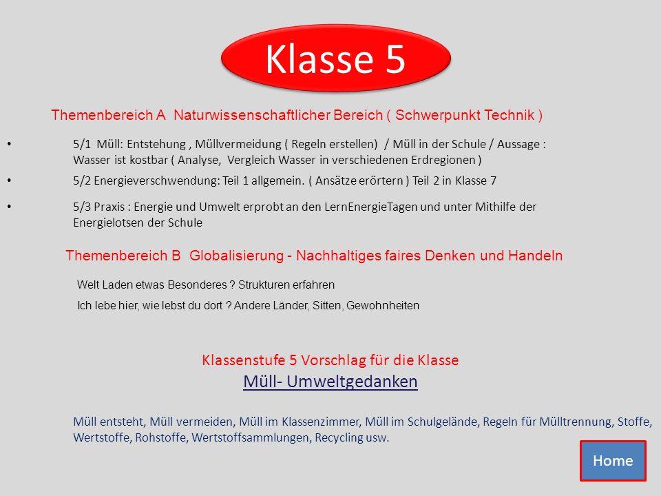 Klassenstufe 5 Vorschlag für die Klasse