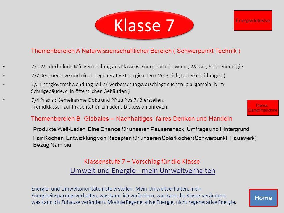 Klasse 7 Klassenstufe 7 – Vorschlag für die Klasse