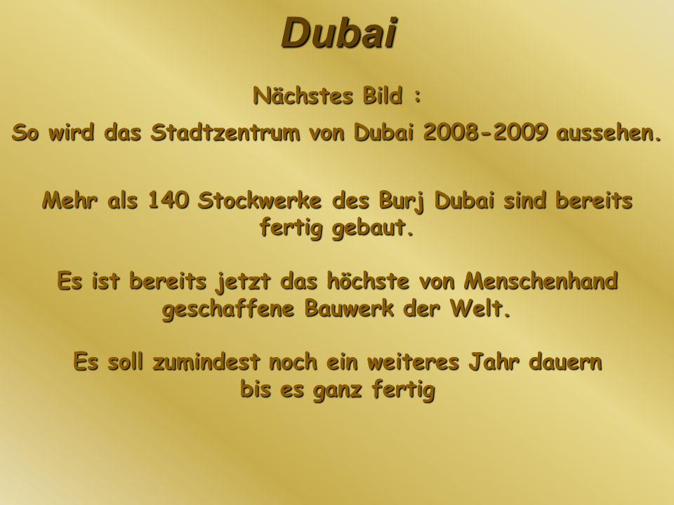 So wird das Stadtzentrum von Dubai 2008-2009 aussehen.