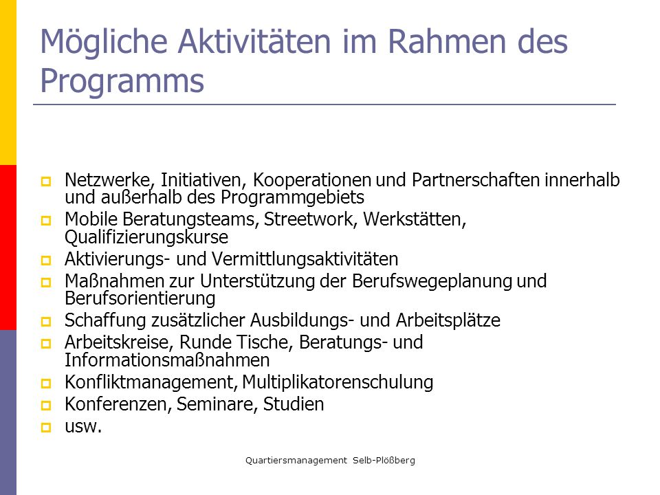 Mögliche Aktivitäten im Rahmen des Programms