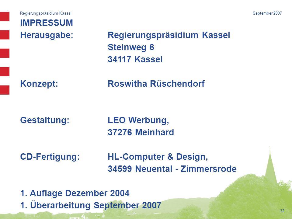 Herausgabe: Regierungspräsidium Kassel Steinweg 6 34117 Kassel