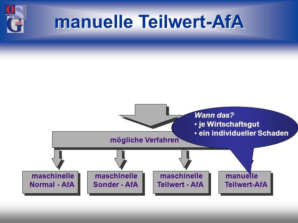 manuelle Teilwert-AfA