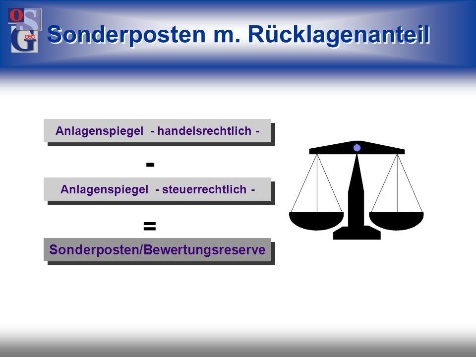 - Sonderposten m. Rücklagenanteil = Sonderposten/Bewertungsreserve