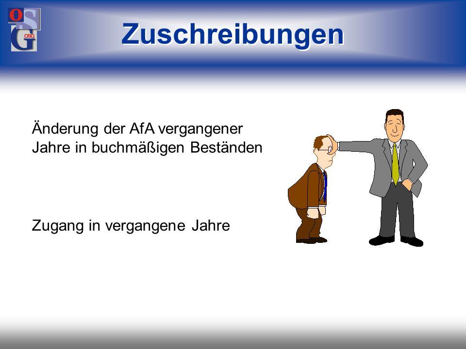 Zuschreibungen Änderung der AfA vergangener Jahre in buchmäßigen Beständen.
