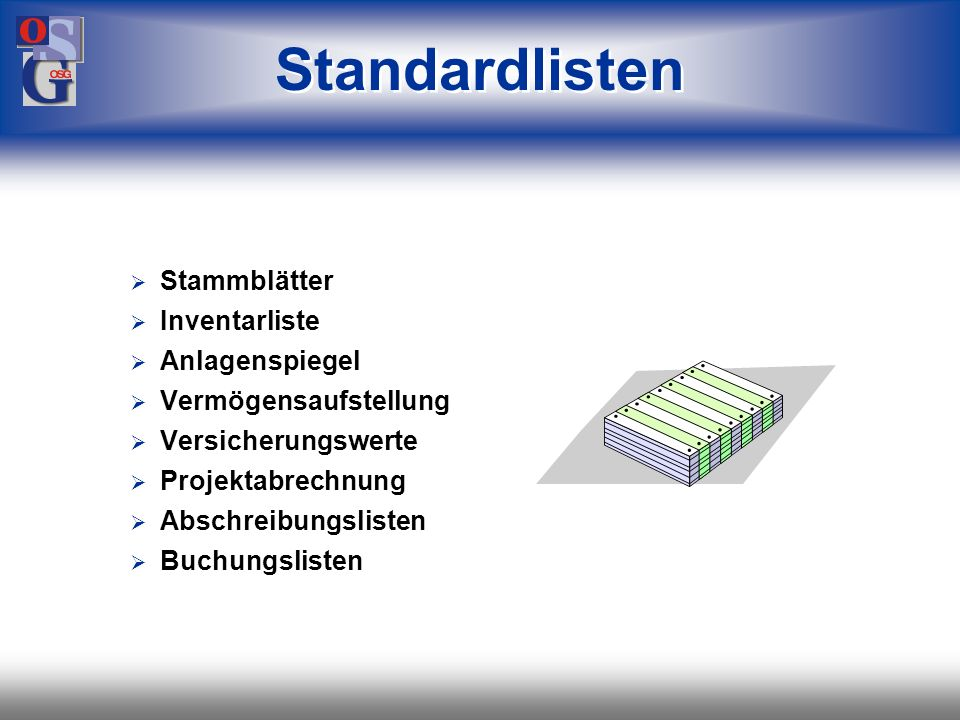 Standardlisten Stammblätter Inventarliste Anlagenspiegel