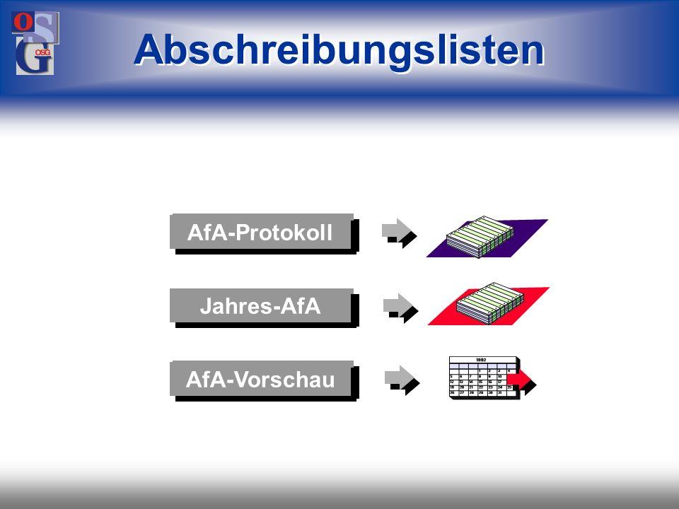 Abschreibungslisten AfA-Protokoll Jahres-AfA AfA-Vorschau