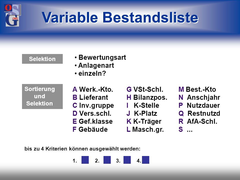 Variable Bestandsliste