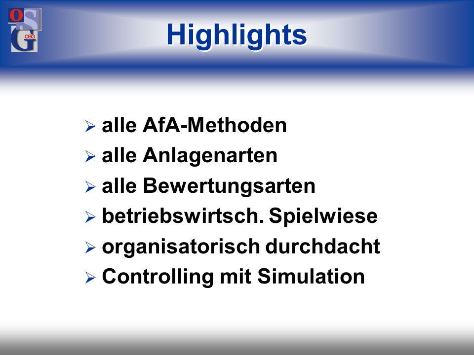 Highlights alle AfA-Methoden alle Anlagenarten alle Bewertungsarten