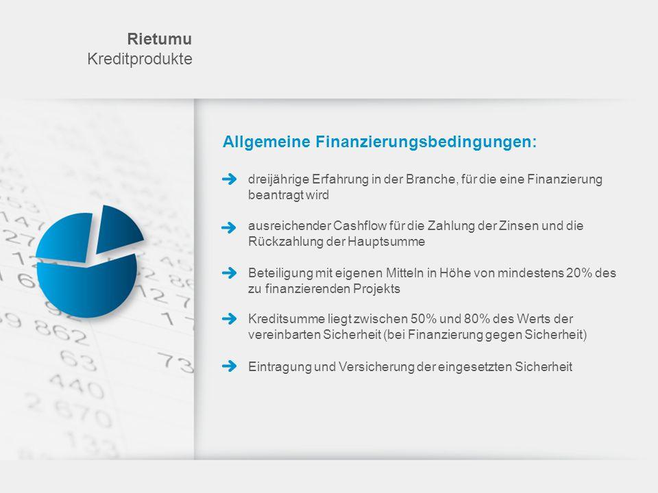 Allgemeine Finanzierungsbedingungen: