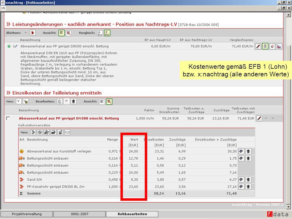 Kostenwerte gemäß EFB 1 (Lohn)