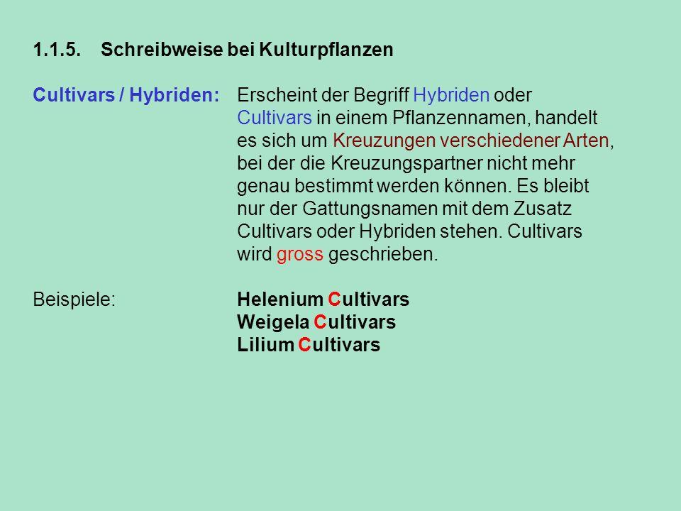 1.1.5. Schreibweise bei Kulturpflanzen