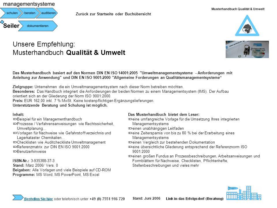 Musterhandbuch Qualität & Umwelt