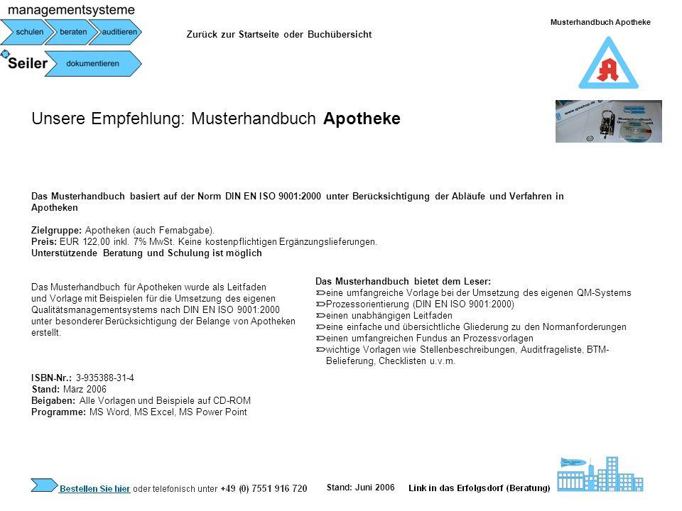 Musterhandbuch Apotheke