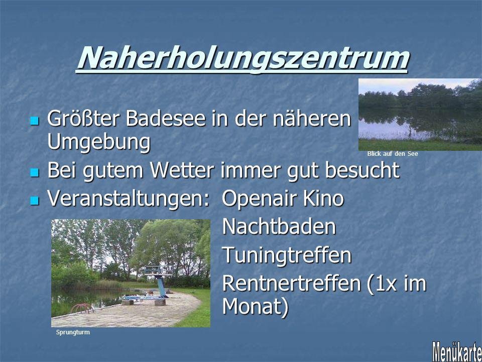Naherholungszentrum Menükarte Größter Badesee in der näheren Umgebung