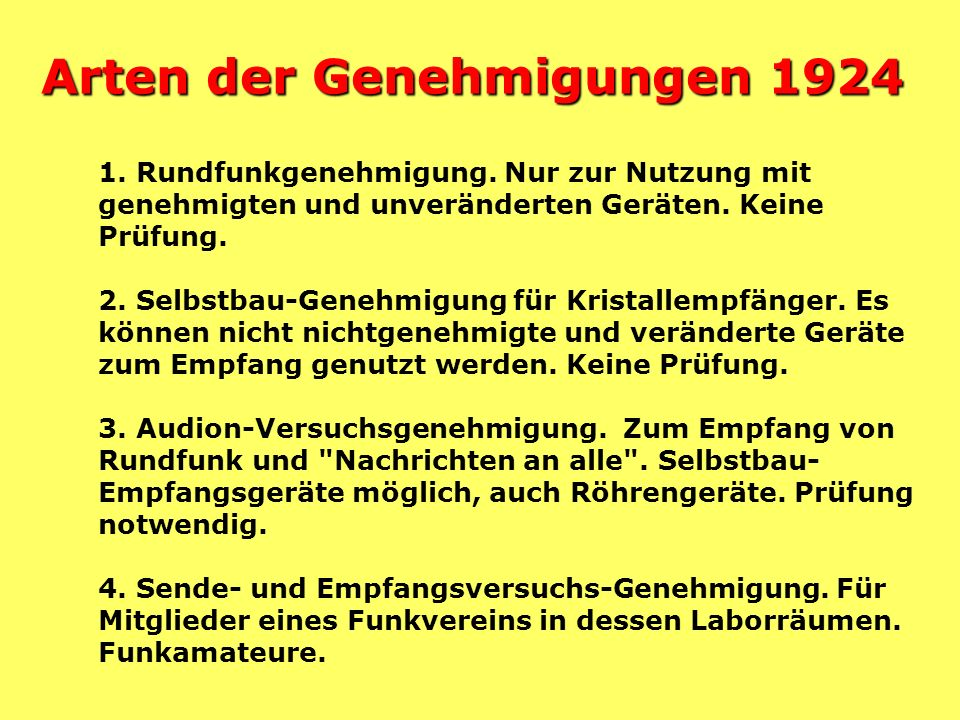 Arten der Genehmigungen 1924