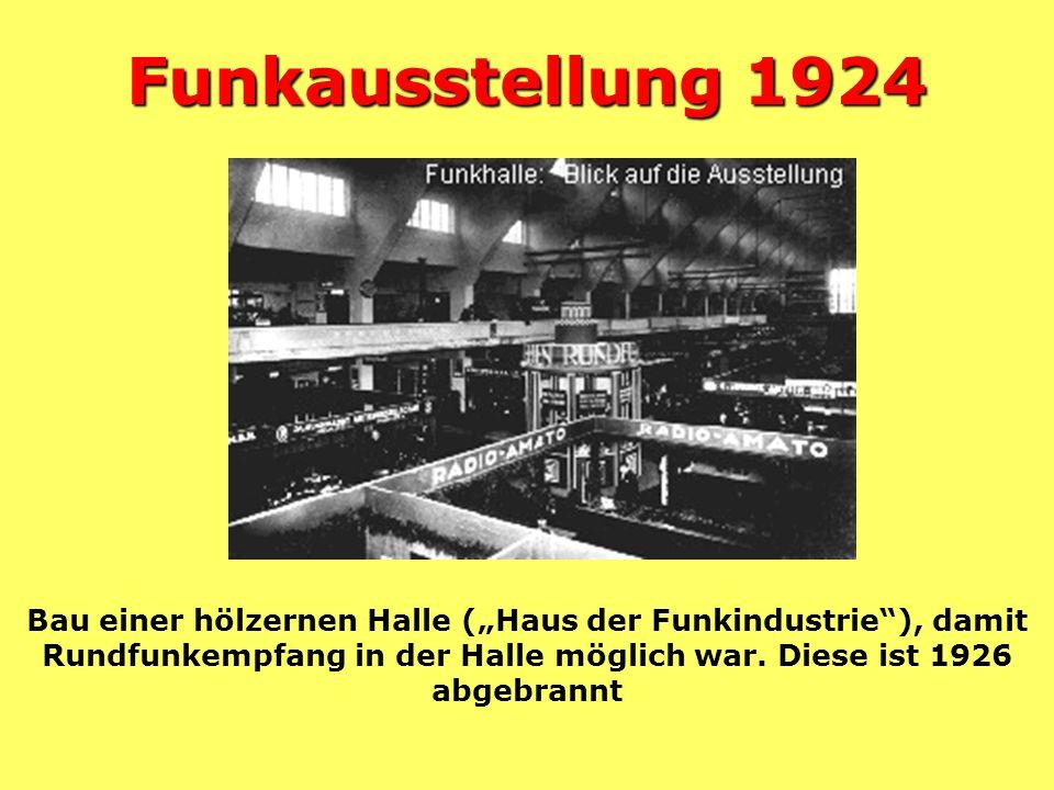 """Funkausstellung 1924 Bau einer hölzernen Halle (""""Haus der Funkindustrie ), damit Rundfunkempfang in der Halle möglich war."""