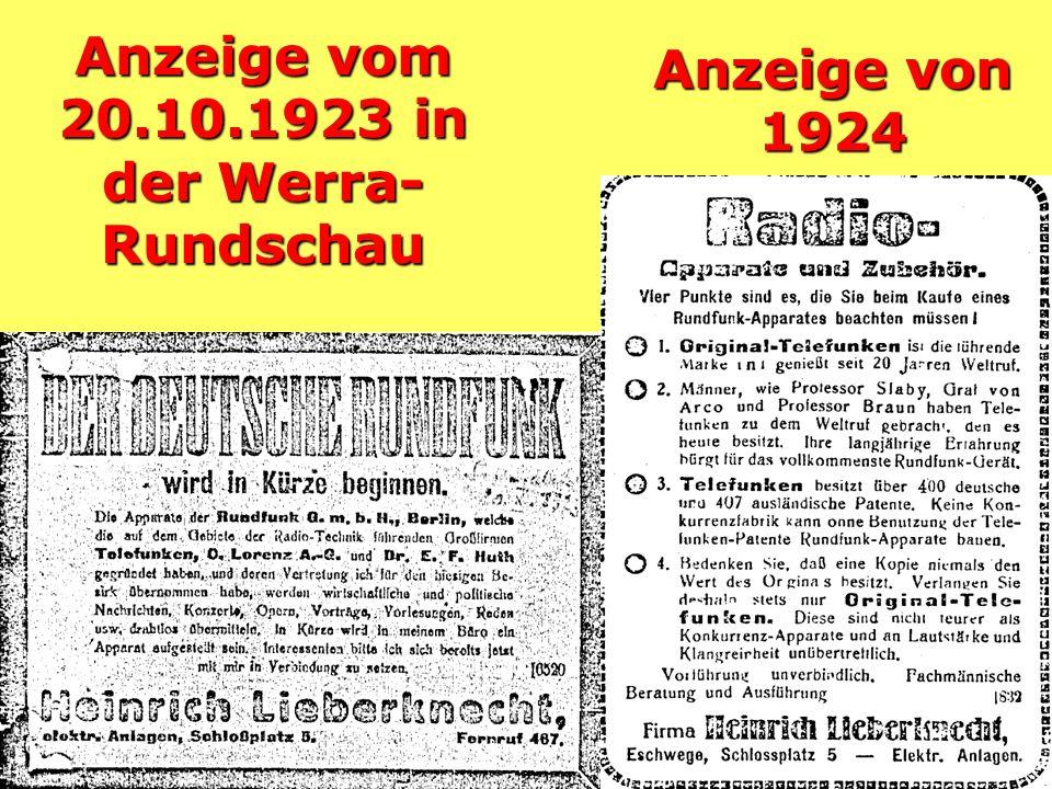 Anzeige vom 20.10.1923 in der Werra- Rundschau