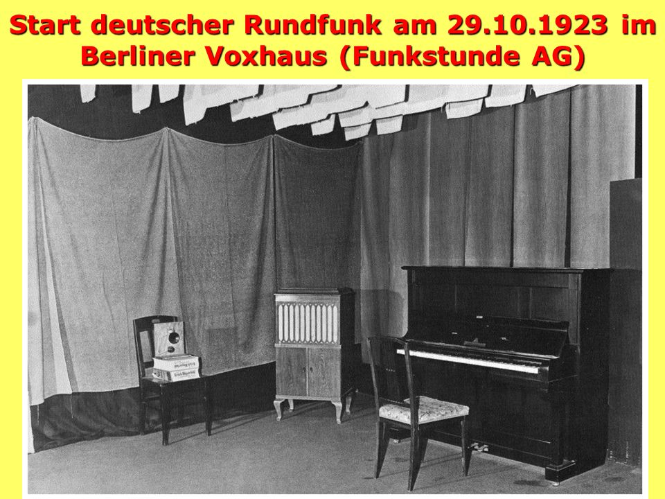 Start deutscher Rundfunk am 29. 10