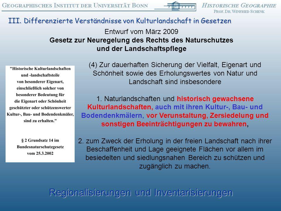 Regionalisierungen und Inventarisierungen