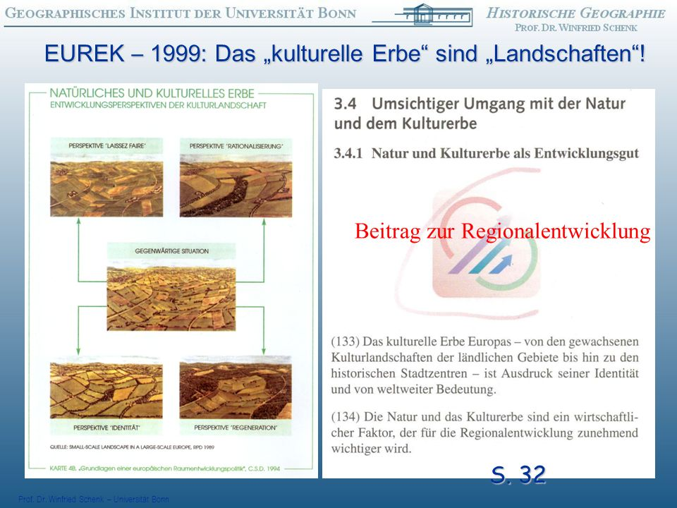 "EUREK – 1999: Das ""kulturelle Erbe sind ""Landschaften !"