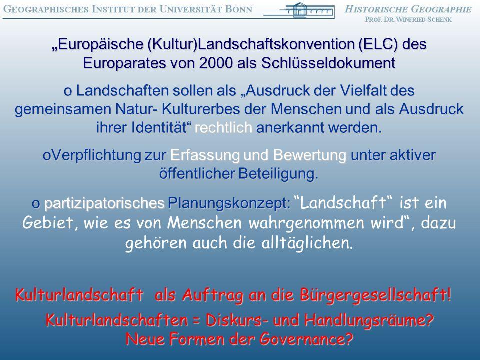 """""""Europäische (Kultur)Landschaftskonvention (ELC) des Europarates von 2000 als Schlüsseldokument"""