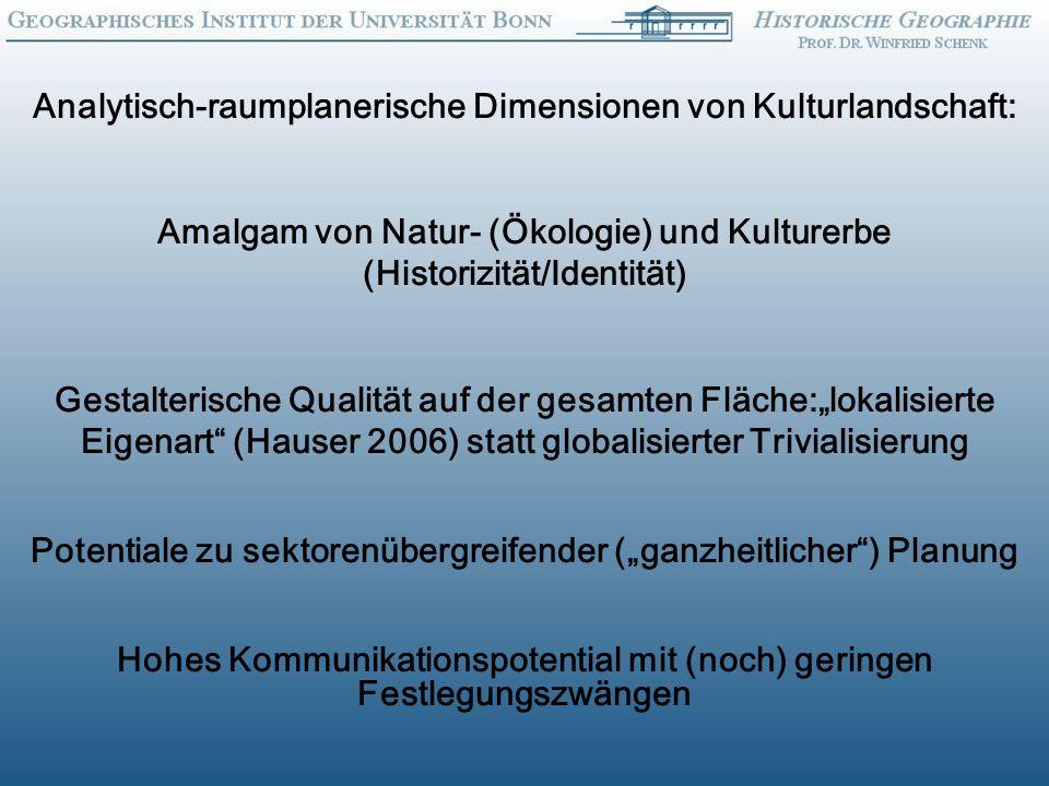 Analytisch-raumplanerische Dimensionen von Kulturlandschaft: