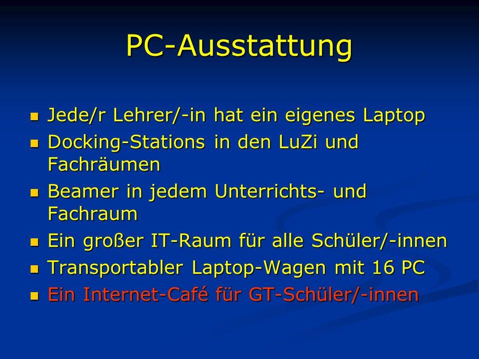 PC-Ausstattung Jede/r Lehrer/-in hat ein eigenes Laptop