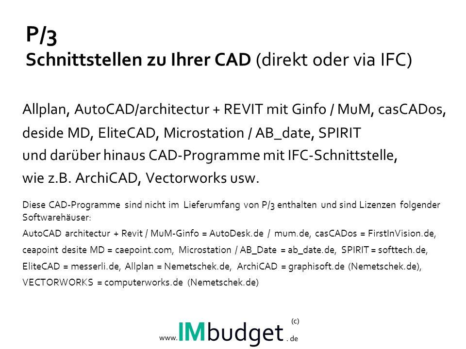 P/3 Schnittstellen zu Ihrer CAD (direkt oder via IFC)