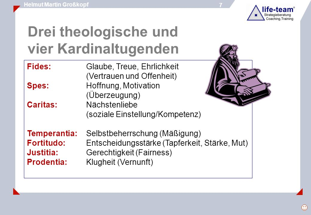 Drei theologische und vier Kardinaltugenden
